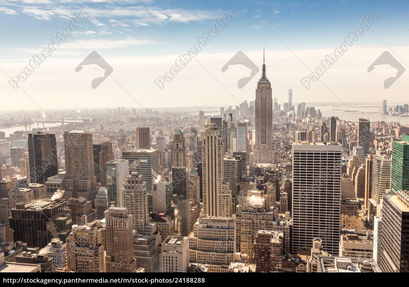 panoramę, centrum, nowego, jorku, na, manhattanie. - 24188288
