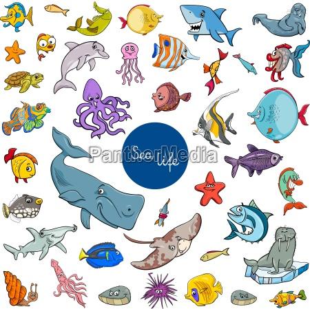 zwierzeta zwierzatka ryba ilustracja postacie znaki