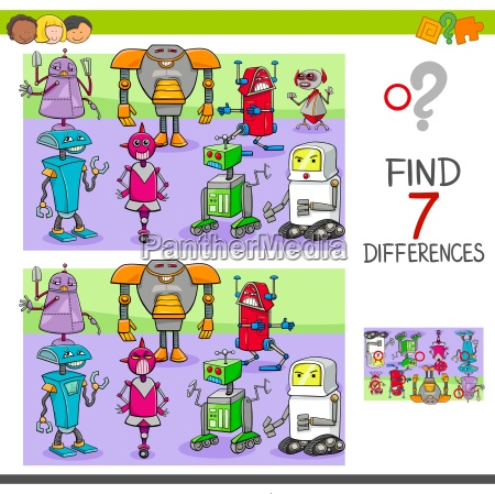 find differences game with robots fantasy