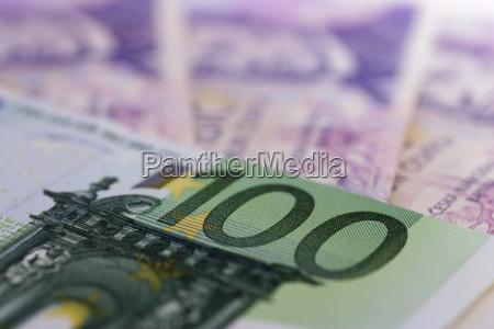 euro bills and czech crowns