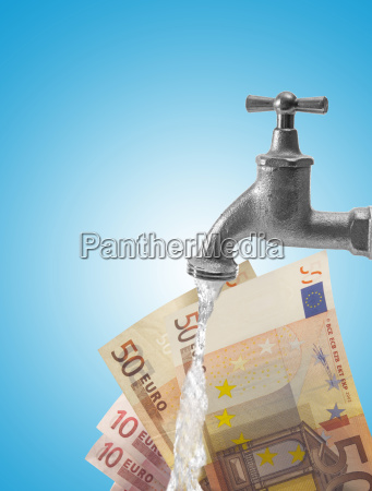 faucet and euro bills money