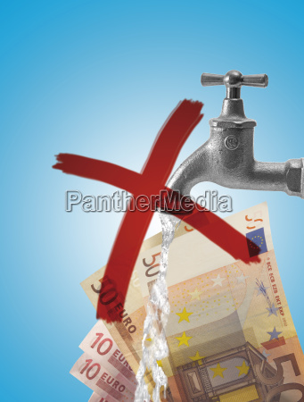 crossed out faucet and euro bills