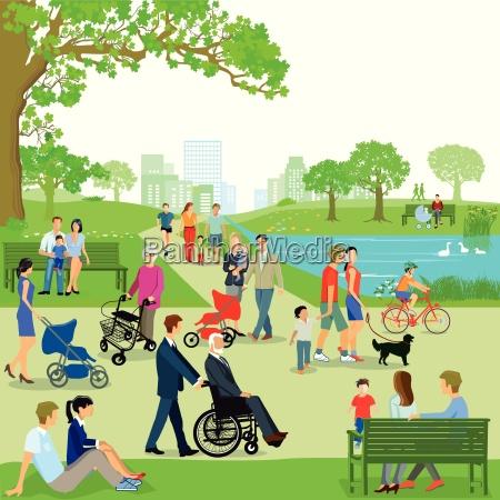 wolny czas rodziny w parkuilustracja