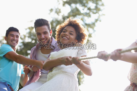 low angle view of young couples
