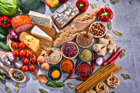 sklad z roznymi organicznymi produktami spozywczymi