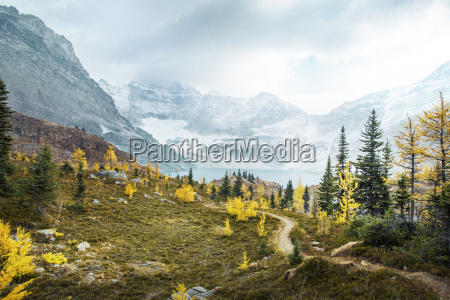scenery with lake and mountains in