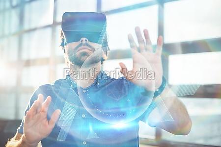 kompozytowy obraz niebieskiej i czarnej technologii