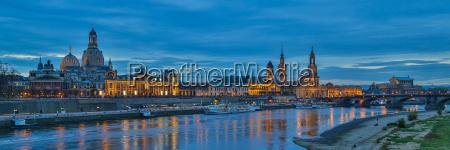 dresden city panorama blue hour elbe