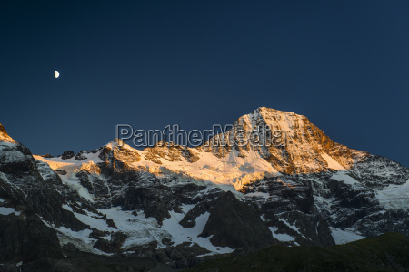 breithorn with snow and moon sunset
