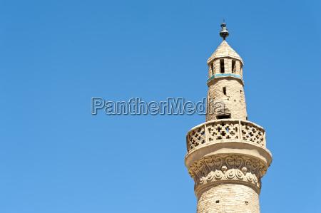 old brick minaret friday mosque masjed