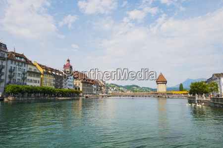 chapel bridge on river reuss lucerne