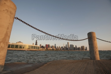 skyline from pier of chicago illinois