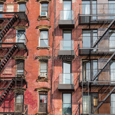 a fire escape of an apartment