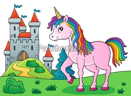 kon zwierze rog pony jednorozec fort