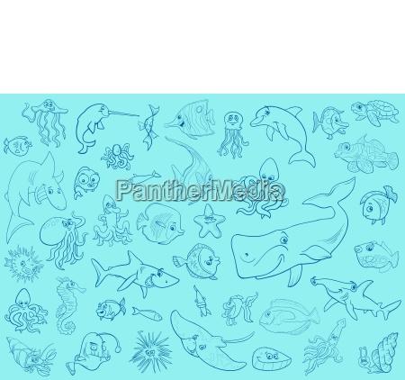 zwierze ryba ilustracja garnitur cartoon naprawic