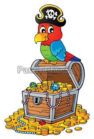 pirate parrot on treasure chest topic