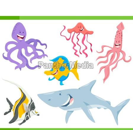ryb i zwierzat morskich zycia znakow
