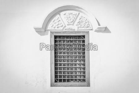 closed windows frame black white