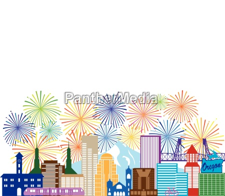 portland oregon skyline fireworks color illustration