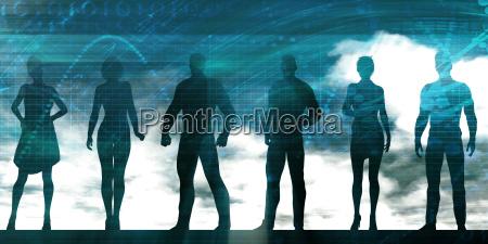 grupa osob stojacych w interesach