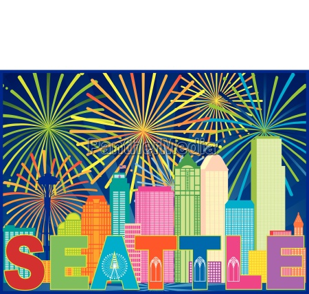 seattle city skyline text fireworks color