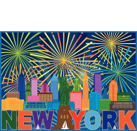 new york skyline fireworks color illustration
