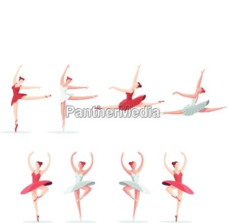 young beautiful ballerina set