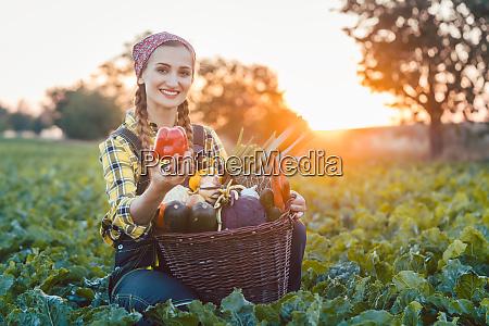 rolnik kobieta sprzedaje kolorowe i zdrowe