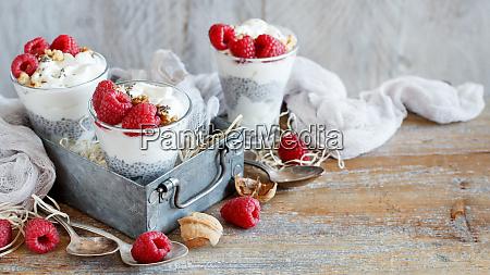 malina, i, jogurt, chia, parfait, pudding - 25879874