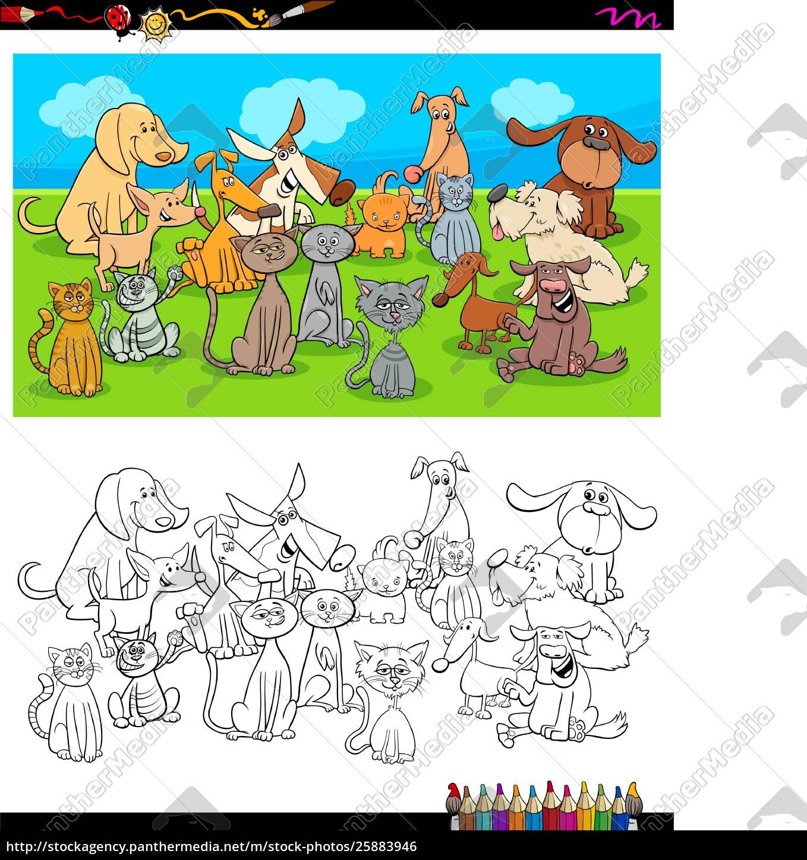 Psy I Koty Znaków Kolorowanki Stockphoto 25883946 Agencja