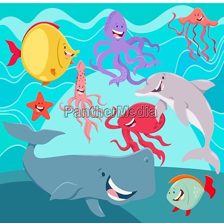 zycie morskie zwierzeta postaci z kreskowek