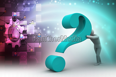 3d man with a question mark