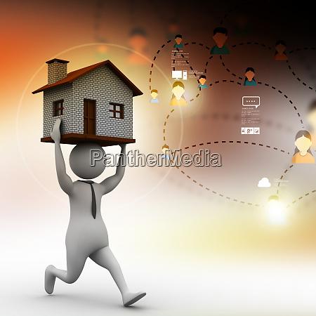 3d man holding house