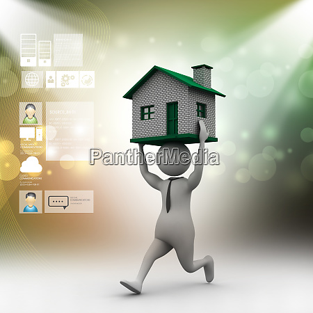 3d man carrying the home