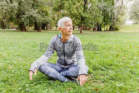 senior woman relax after exercise in