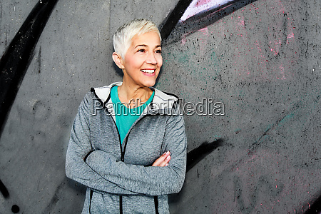 mature athletic woman relax after running