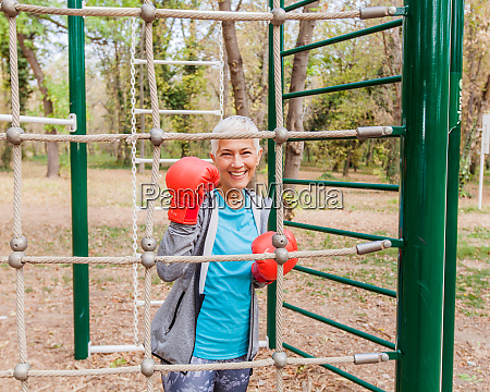 happy fit senior woman with