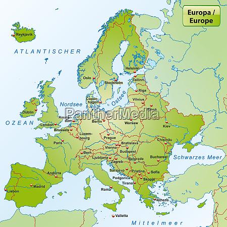 mapa europy z wielkimi miastami
