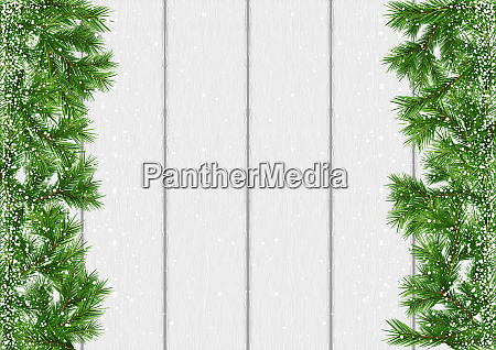 christmas snow covered branches background