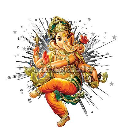 ganesha hinduski wladca bozek azja ilustracja