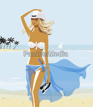sexy woman in bikini and cowboy