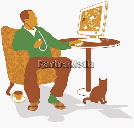 czlowiek szuka internetu do diagnozy medycznej