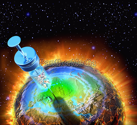 syringe injecting globe