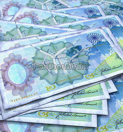 close up of blue bank notes