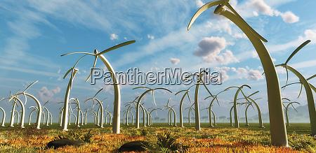 drooping stacjonarnych turbin wiatrowych na farmie