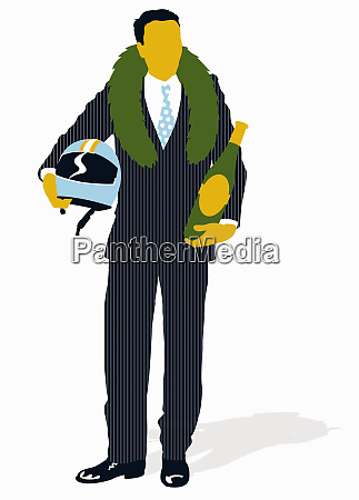 businessman wearing victory laurel wreath and