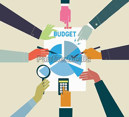 businessmen calculating budget