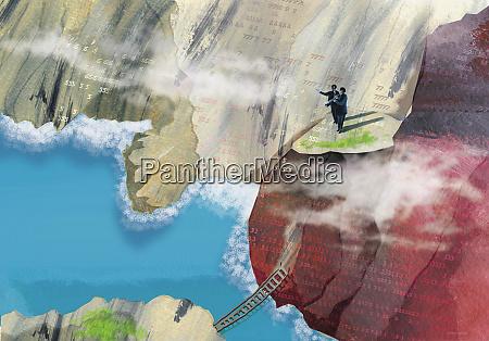 businesspeople on cliff overlooking ocean
