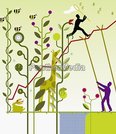 man supporting line graph through nature