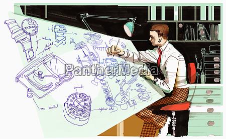 architekt rysunek na biurku